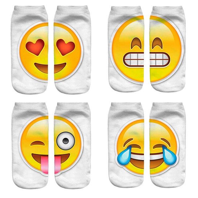 Hot Koop 3D Emoji Afdrukken Uitdrukking Vrouwen Sokken Grappige Lage Ankle Korte Sokken voor Vrouwen Mannen Unisex