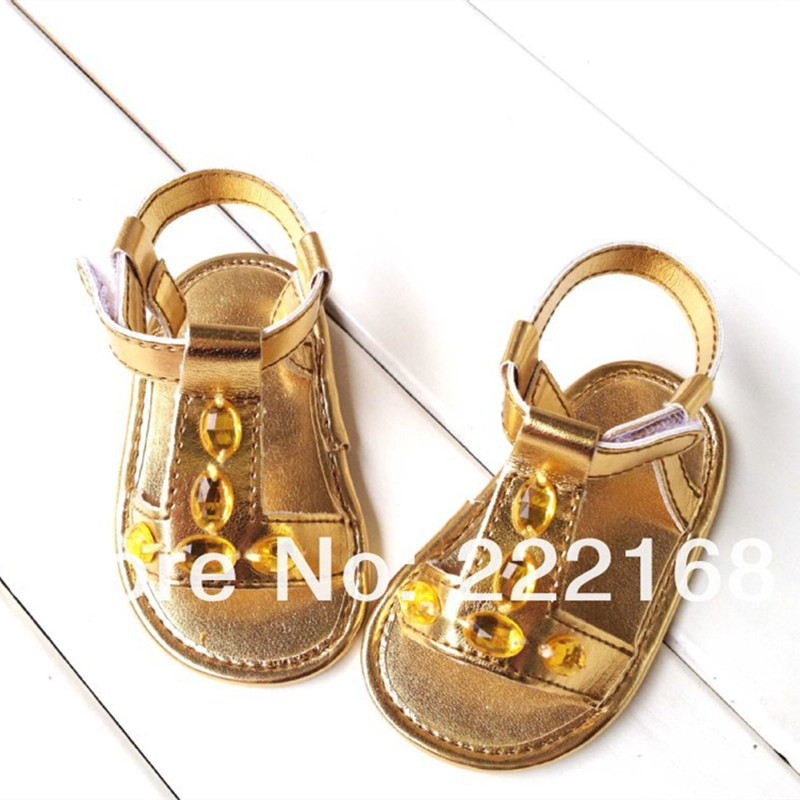 New Summer Baby Girls First Walkers Infant Girl Barefoot Shoes Sale Gold Color