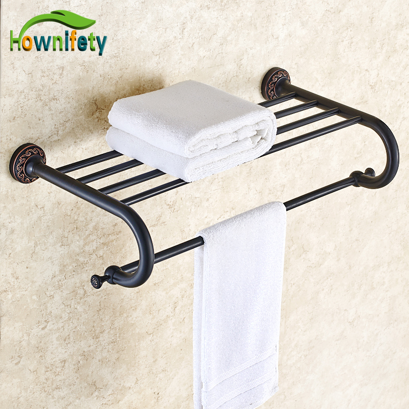 Oil Rubbed Bronze Carved Flower Bathroom Towel Shelf Towel Rack Towel Holder Solid Brass Wall Mounted copper bathroom shelf basket soap dish copper storage holder silver