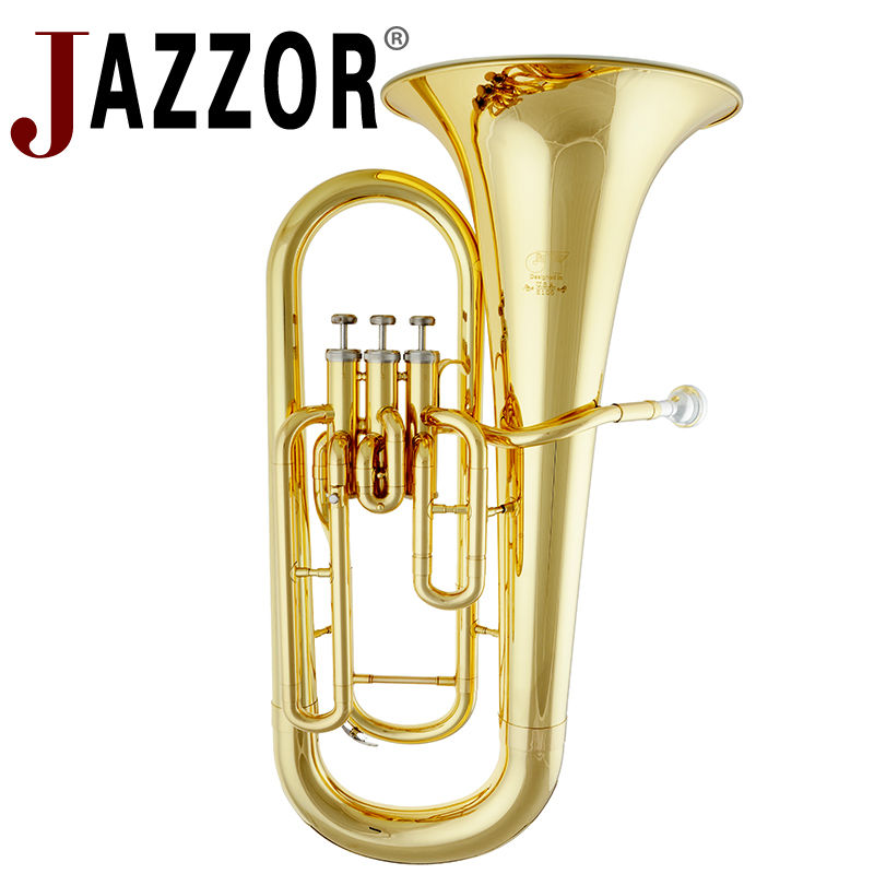 JAZZOR JYEU-E100 Professional Euphonium B Flat Gold Lacquer Brass wind instrument with mouthpiece and caseJAZZOR JYEU-E100 Professional Euphonium B Flat Gold Lacquer Brass wind instrument with mouthpiece and case