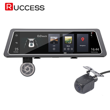 Ruccess 10 inch Car DVR Rearview Mirror Android 3G GPS Navigator Wifi Dash Cam In Car Video Camera Full HD Dual Lens