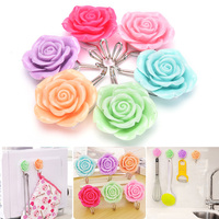 Decorative Wall Hooks Self Adhesive Stainless Steel Stick Hangers Kawaii Roses Flowers Holder Hook Home Decoration 2 Pcs