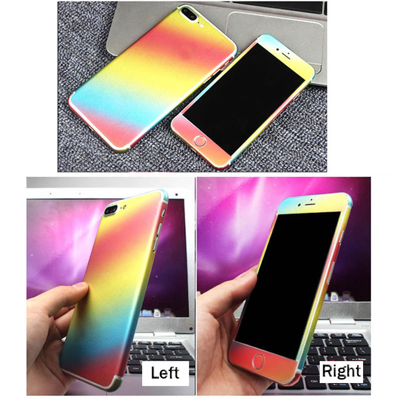 For apple iphone 6 6s plus 7 plus foil full body ombre gradient color decal sticker case rainbow cover screen protector film in fitted cases from