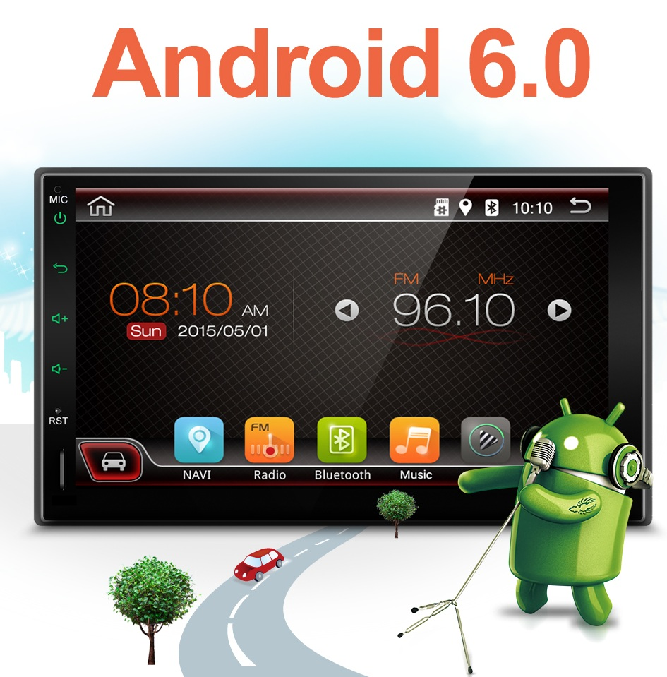Electrónico del coche 2 din Coche Sin Reproductor de DVD Android 6.0 GPS Navi 7
