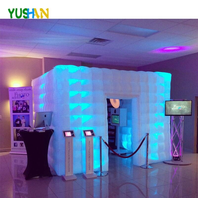 10ft Grand Portable Photo Booth Belle Qualité 3D gonflable photo booth Décors LED Photo Booth Tente Enceinte Pour Mariages