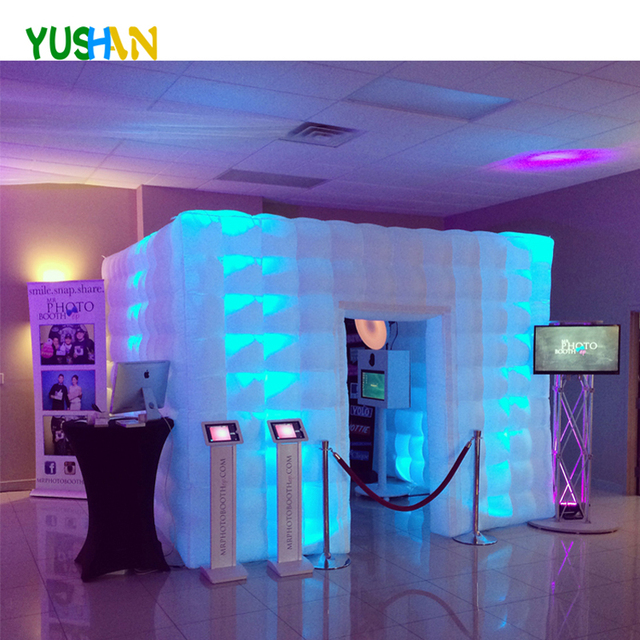 10ft Large Portable Photo Booth Nice Quality 3D inflatable photo booth Backdrops LED Photo Booth Enclosure Tent For  Weddings
