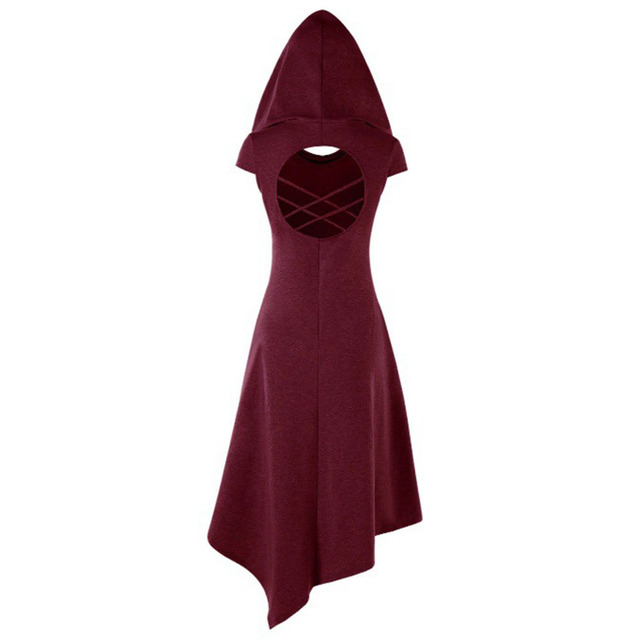 Summer Autumn Vintage Renaissance Medieval Dress Women Sleeveless Sexy Backless Hooded Muslim Dresses