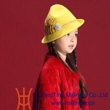 Бесплатная Доставка Осенью и Зимой Детей Девушки Мода Шерсть Фетровая Шляпа Природный 100% Шерсть Короткая Брим Набор Шнека Кружева Алмаз