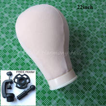 "22'' Canvas Block Head For Hair Extension lace wigs Making and Display Styling mannequin Manikin Head 21""/22""/23""/24""/25"""