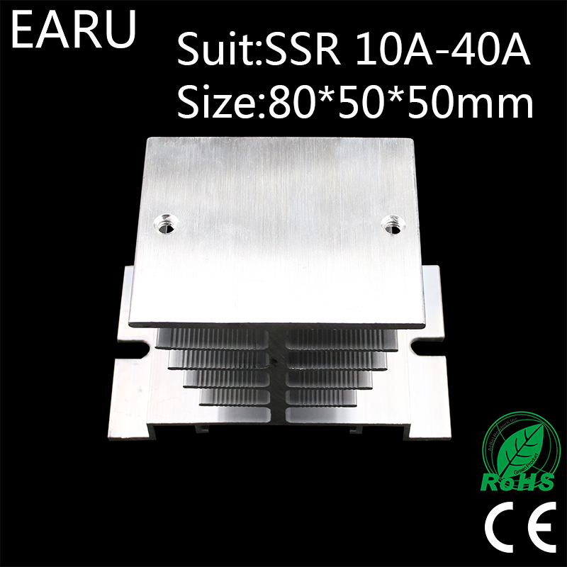 1 pcs New Aluminum Fins Single Phase Solid State Relay SSR 10A to 40A Aluminum Heat Sink Dissipation Radiator Newest Rail Mount 1pcs free shipping ssr soild state relay radiator radiator fin other spare parts mini