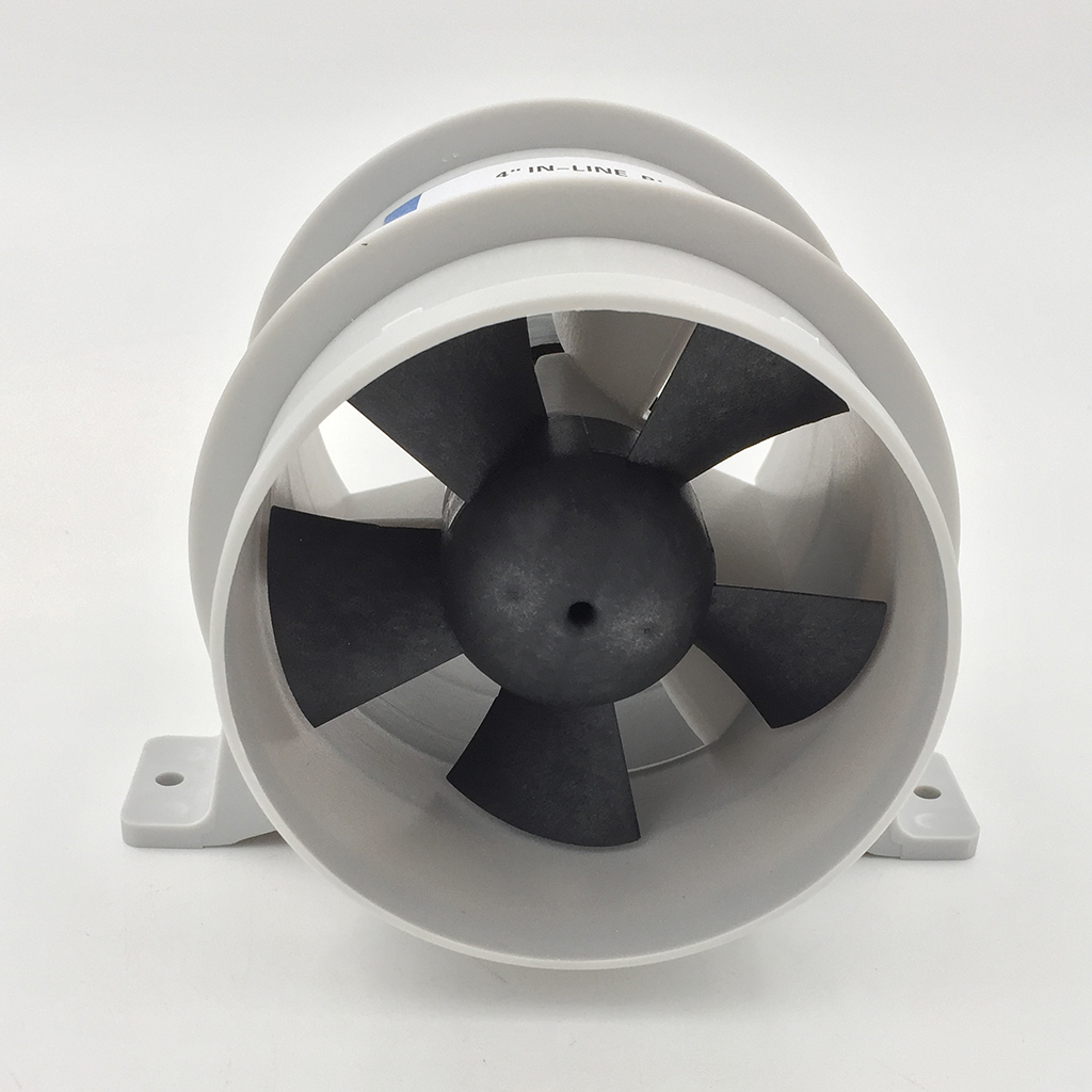 Marine 12V Quiet Blower Water Resistant High Air Flow - 4 Inch Diameter Corrosion Resistant Nickel-plated Motor Housing