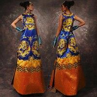 Благородный Классический дамы рукавов домашний халат с изображением дракона платье Улучшенная Тонкий платье с вышивкой Китайская традици