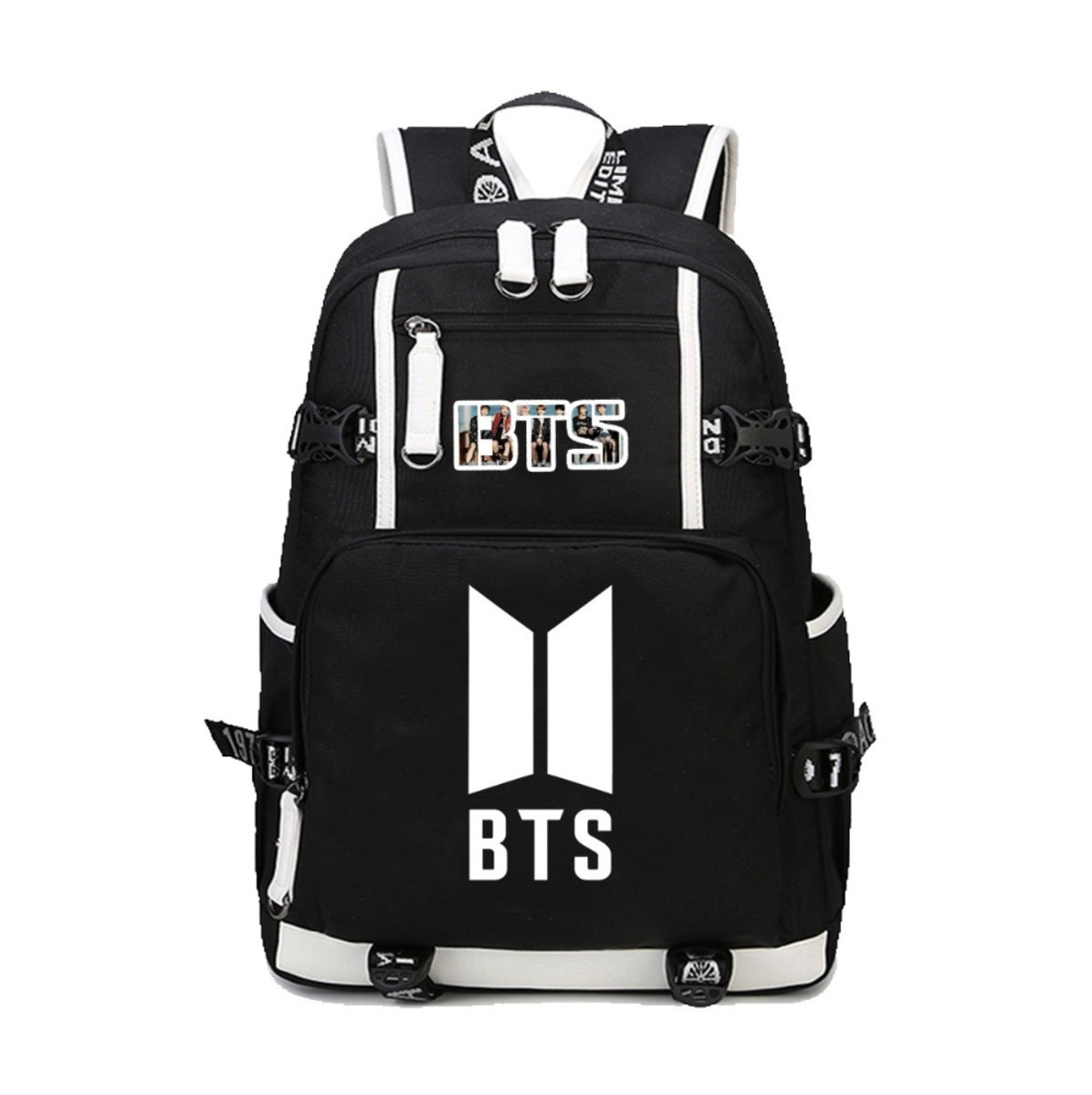 все цены на BTS Bangtan Boys canvas Backpack Large Capacity Travelling Bag Fans student book backpack men women Laptop Rucksack 7 style онлайн