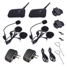 2×1200 M Motocicleta BT Bluetooth Intercomunicador Del Casco hasta 6 pilotos Wireless Impermeable Interphone Auriculares MP3