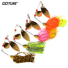 Goture 4 Pieces Jig Head Fishing Lure 15g Spinnerbait Striped Bass Pike Trout Fishing Spinner Bait Flash Colorado Willow Blades