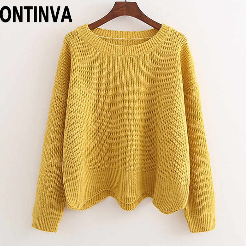 Yellow Asymmetrical Crop Sweaters 2020 Women Autumn Round Neck Knitwear Clothes Tops Girls Pull Femme Tricot Jumper Korean Style