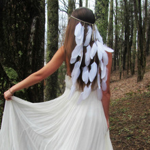 White feather headdress, Bohemian wedding bride headband