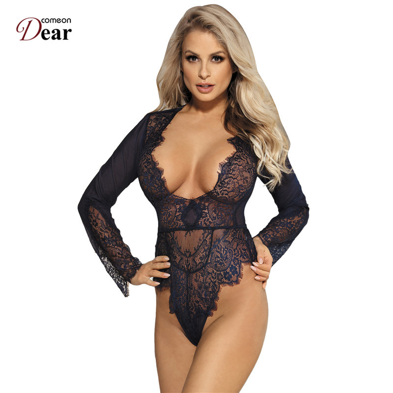 Comeondear Bodysuit Women Transparent Jumpsuit Long Sleeve Plus Size Lace Rompers Macacao Feminino Overalls Enteritos Club Wear