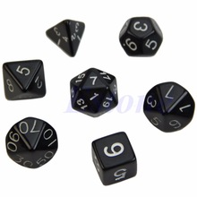 7 Pcs Black Sided Die D4 D6 D8 D10 D12 D20 Dice Game 8 Colors