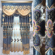 European luxury chenille stamping hollow embroidery bedroom curtains classic villa curtain living room