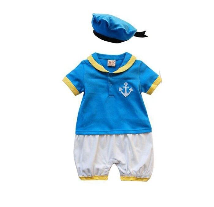 赤ちゃん男の子ロンパース ドナルドダックブルー夏半袖セーラー ロンパース +青ネイビー帽子キャップ漫画