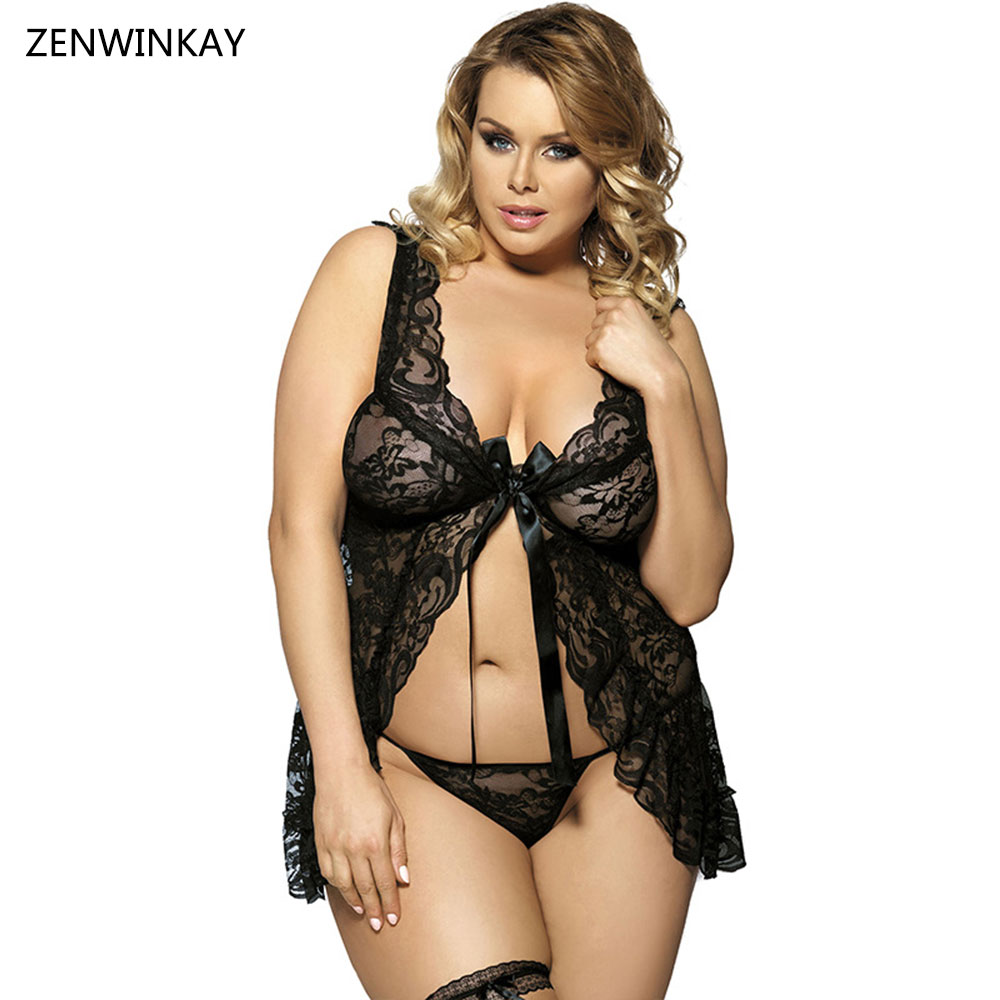 Black Night Wear Women <font><b>Sexy</b></font> Babydolls <font><b>Lingerie</b></font> <font><b>Sexy</b></font> Porn Costumes Erotica Lengerie Sex Clothes Plus Size XL <font><b>XXL</b></font> XXXL 4XL 5XL 6XL image