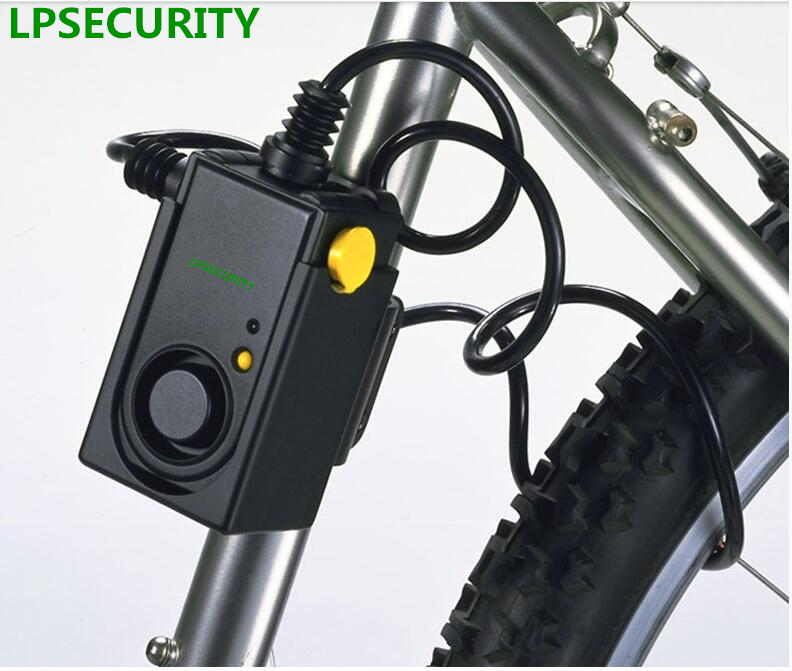 LPSECURITY Bike Alarm 105dB siren detector for anti theft and robbery with durable <font><b>lock</b></font> and steel cable