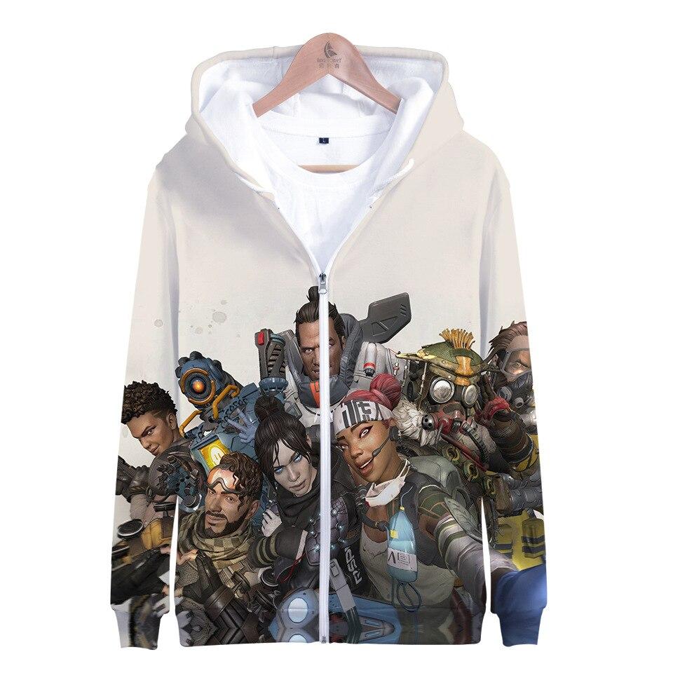 2019 New Game APEX Cosplay Costume 3D Print Hoodies Man Woman Casual Zipper Jacket Sweatshirt