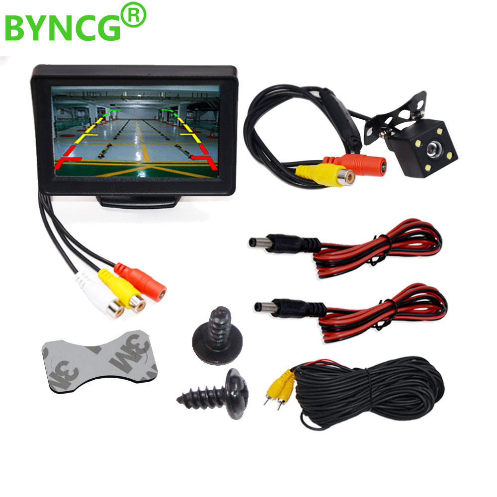 BYNCG 4.3 Inch TFT LCD Car Monitor Foldable Monitor Display Reverse Camera Parking System for Car Rearview Monitors NTSC PAL waterproof car rearview camera ntsc