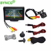 BYNCG 4.3 pouces TFT LCD moniteur de voiture pliable moniteur affichage caméra de recul système de stationnement pour les moniteurs de rétroviseur de voiture NTSC PAL