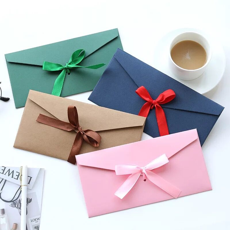 10pcs/Pack Vintage Fashion Bowknot Gift Invitation Kraft Envelope For Wedding Birthday Greeting Best Wishes Kawaii Envelopes