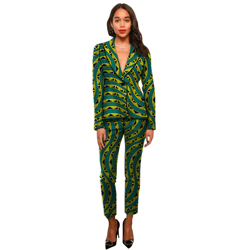 Dashiki Clothes Print Women Suits Ankara Fashion Blazers With Trousers Pant Suits Custom Made African Wedding Outfits
