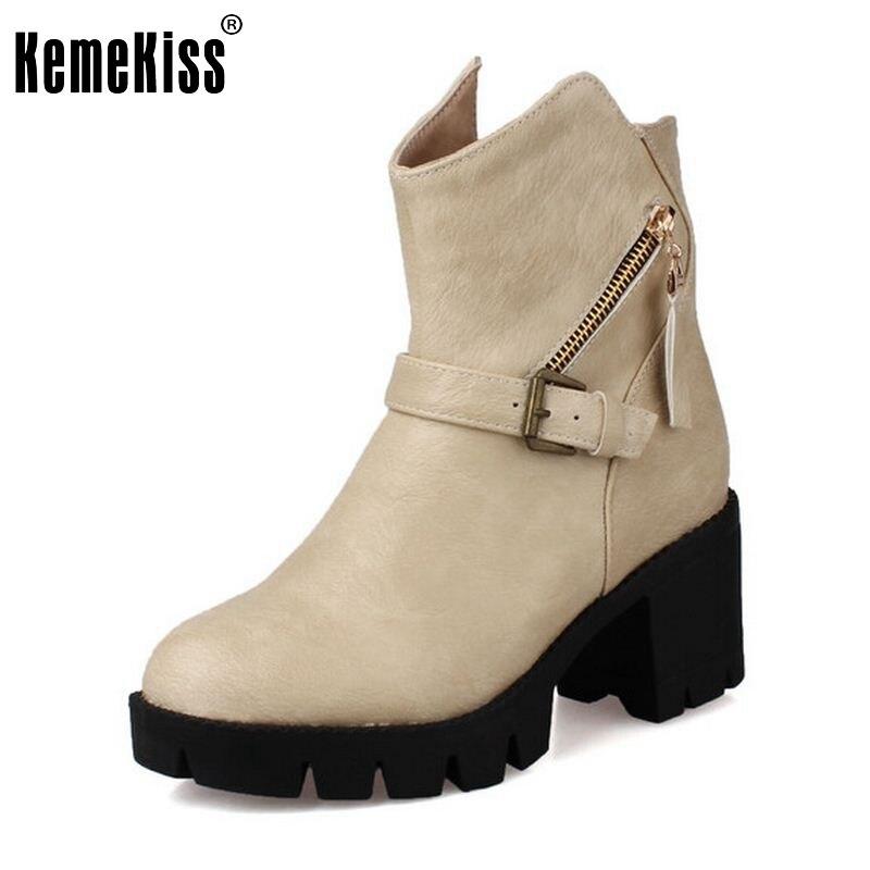 Новый бренд 2016 женщин сапоги на платформе на высоком каблуке толстый каблук шнуровкой ботинки с застежкой-молнией Размер хорошее качество 33-43