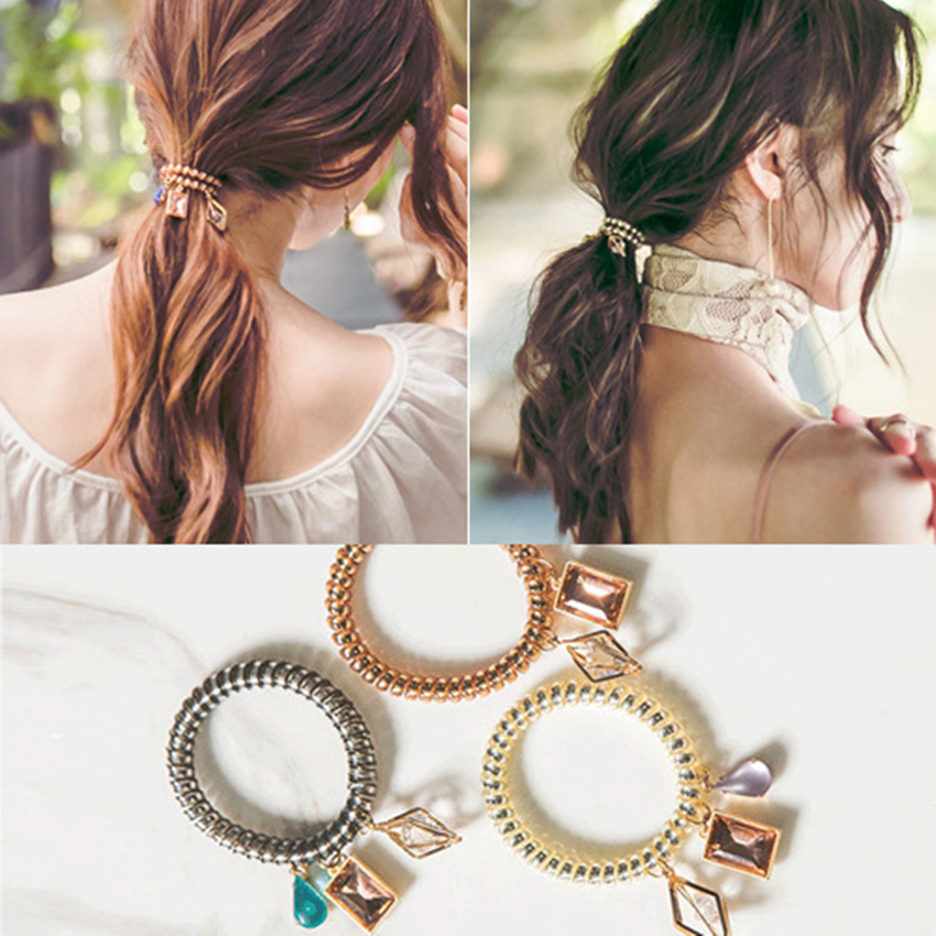 New Arrived 1pc Telephone Wire Coil Hair Band With Crystal Diamond Charm Jewelry Bracelet Wristband Hair Tie Ponytail Holder