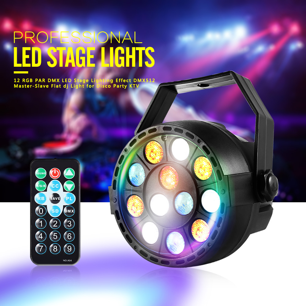 цены New Professional LED Stage Lights 12 RGB PAR DMX LED Stage Lighting Effect DMX512 Master-Slave Flat dj Light for Disco Party KTV