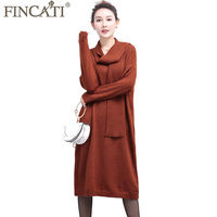 Autumn Winter Dresses Women 2017 New Soft Fluffy Cashmere Blending Bow Collar Casual Long Loose Midi