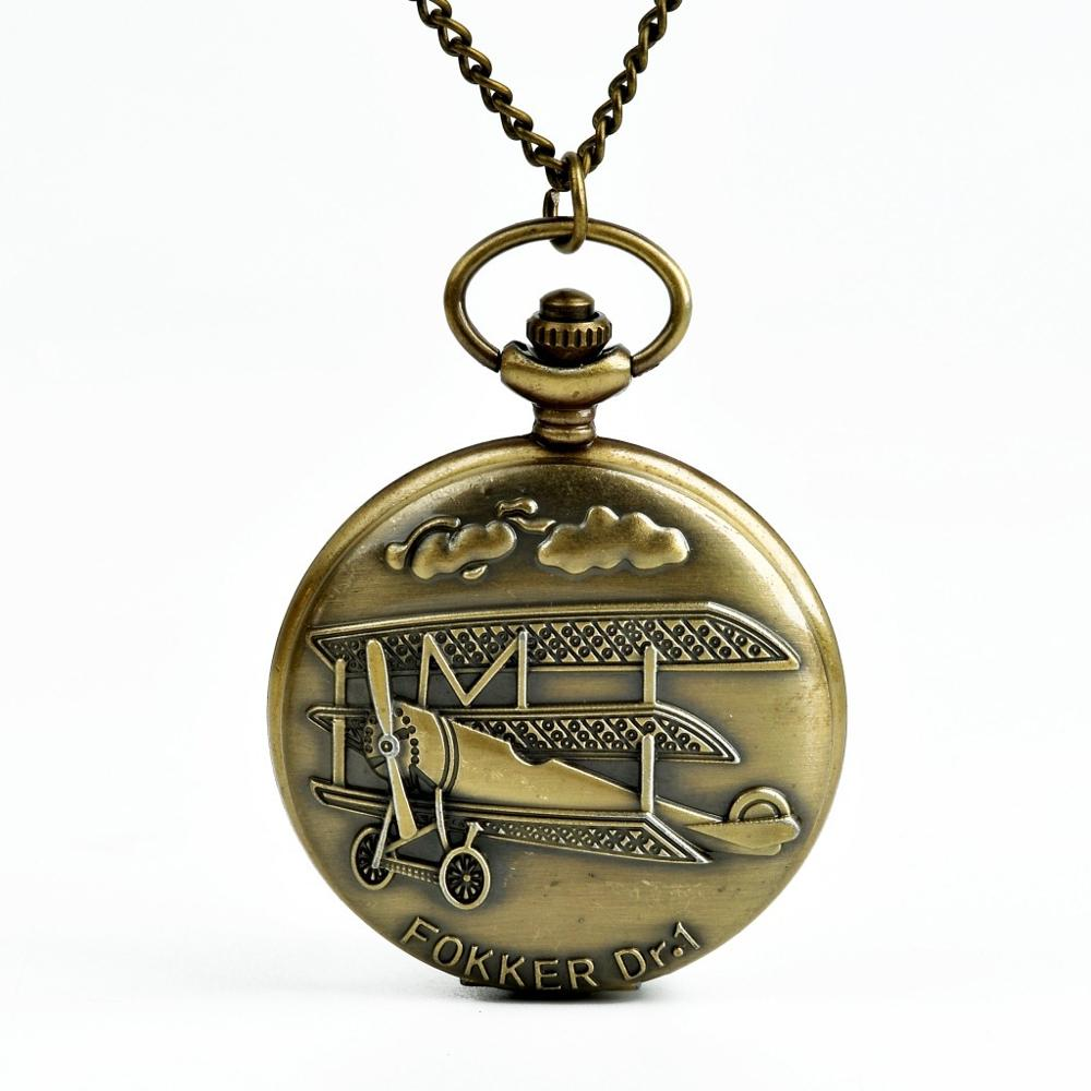 9016 Vintage 3D Airplane Design Bronze Quartz Pendant Fob Pocket Watch With Necklace Chain Good WatchFor Children And Friends image