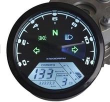Universal 12000RMP LCD Digital Speedometer Odometer Tachometer Motorcycle Motor Bike 1-4 Cylinders