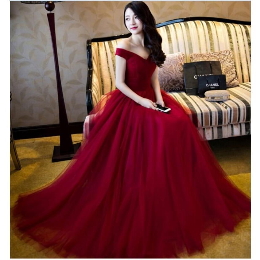 abendkleider Burgundy More color 2016 Promotion Real Sample Hot short sleeves Off shoulder Formal Women   Bridesmaid     Dresses