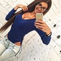 Sexy Choker V Neck Plunge Long Sleeve Shoulder Women Autumn Spring sweater Ribbed Bodysuits Playsuits Rompers Jumpsuits New