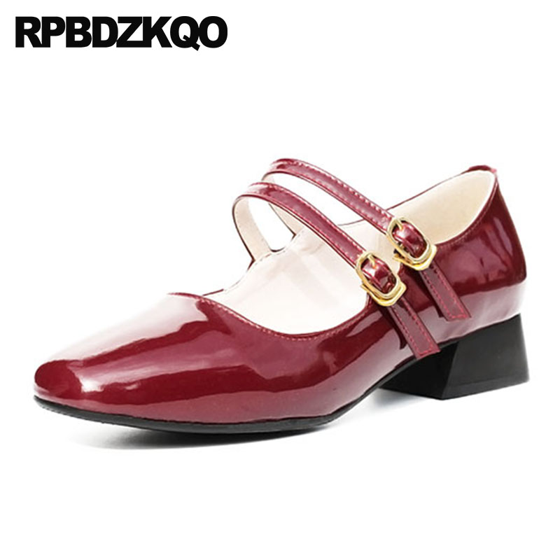 10 42 Sweet Size 33 Mary Jane Wine Red Belt Strap Genuine Leather Patent Nude Square Toe Pumps Ladies Low Heels Shoes Big Chunky