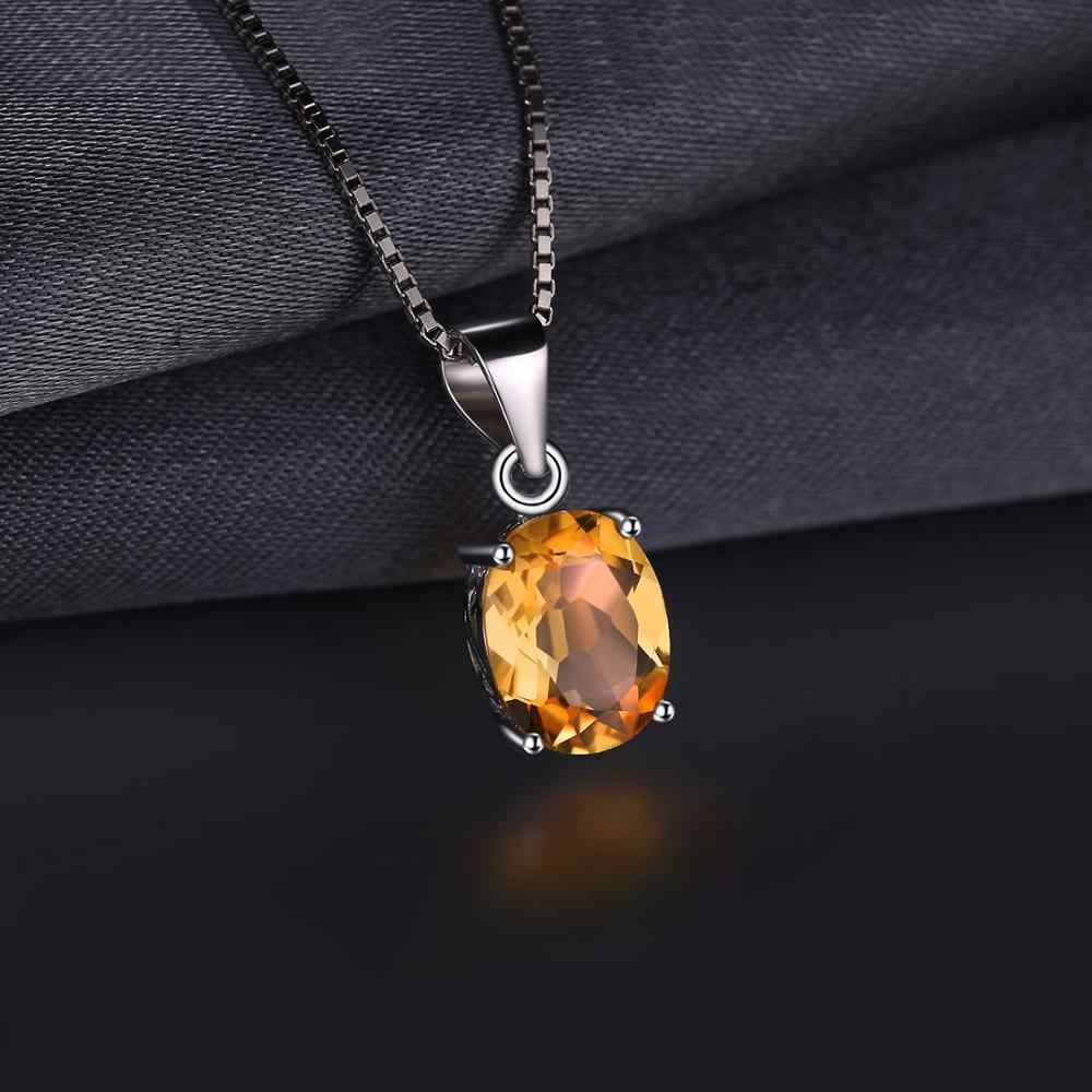 Natural Citrine Pendant Necklace 925 Sterling Silver Gemstones Choker Statement Necklace Women silver 925 Jewelry Without Chain