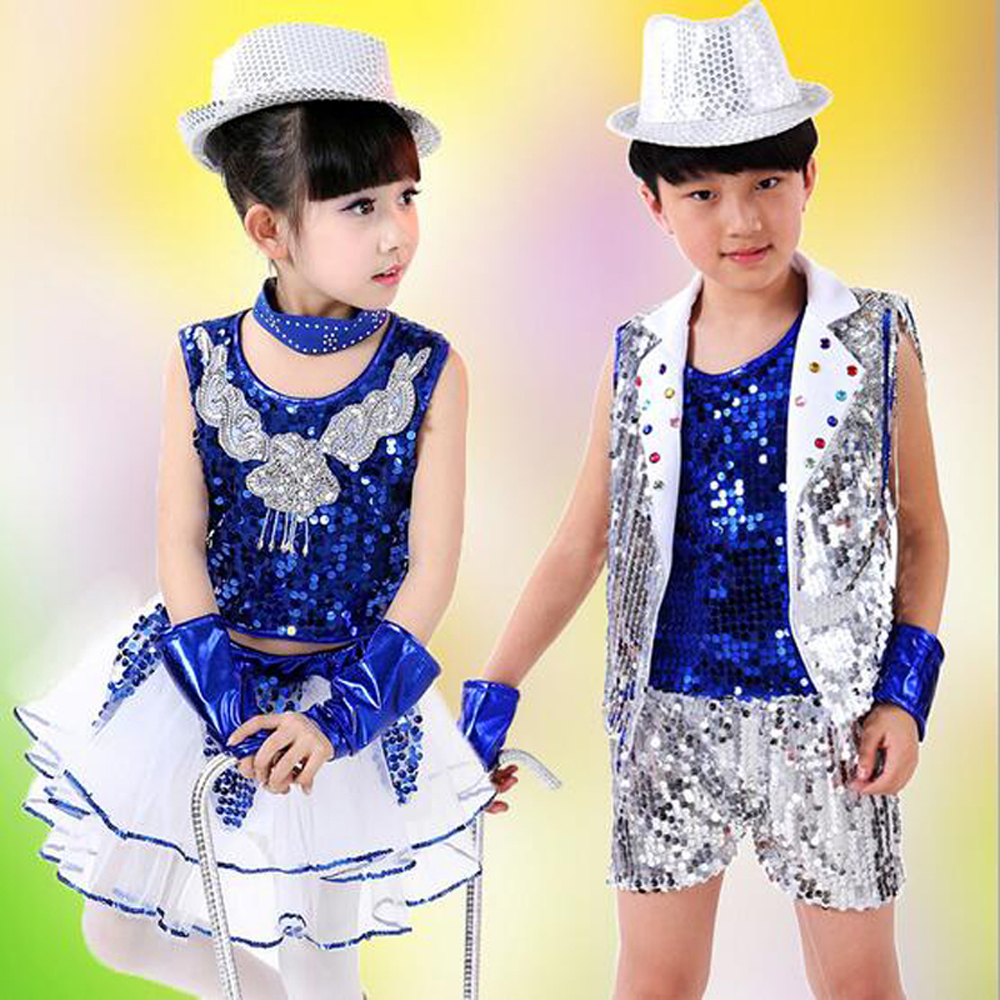 Boys suit modern jazz dance Stage performance clothing girl children sequin veil Christmas New year celebration perform costumes