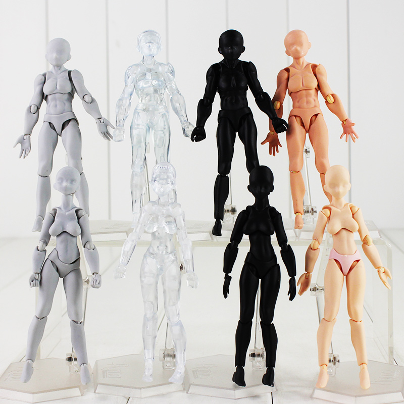 8 Styles 5 Figma Body Action Figure Archetype He She Body Kun Body Chan Grey Black Skin Clear Male Female Model Dolls