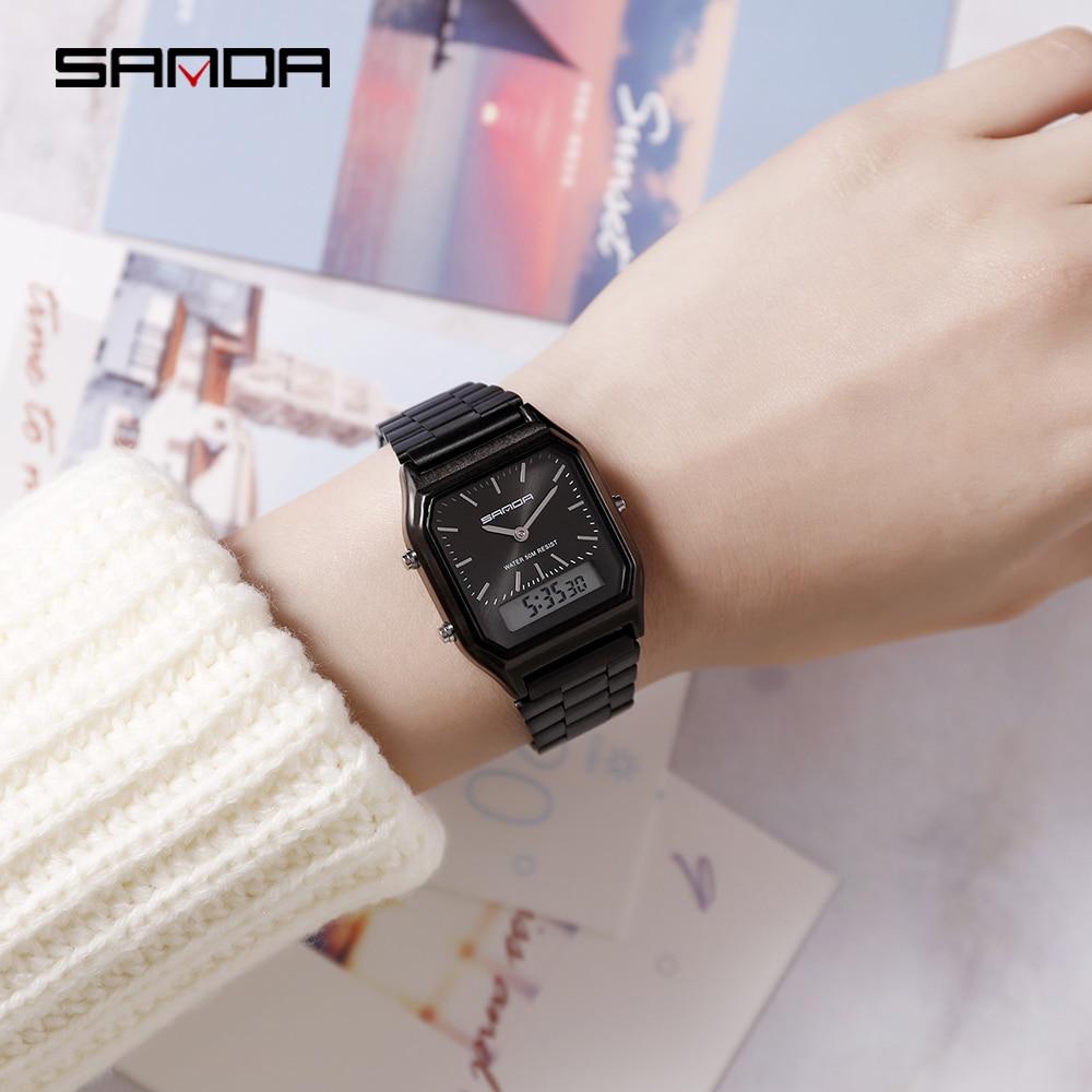 Pointer + Number Couple Watch Steel Belt Electronic Watch Casual Fashion Ladies Men's Universal Waterproof Calendar Clock