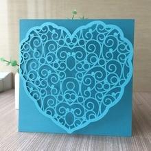 25 шт/лот счастливый синий дизайн сердца пригласительная открытка для свадьбы помолвка день рождения грандиозное мероприятие Выпускной юбилей бизнес