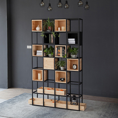 US $3559.99 11% OFF|Bookcase Living Room Furniture Home Furniture  wooden+steel bookshelf cabinet industrial book stand 120*30*210 cm modern  new-in ...