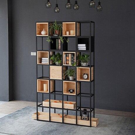 Estantería muebles de sala de estar muebles para el hogar madera + estante de acero gabinete soporte de libro industrial 120*30*210 cm nuevo y moderno