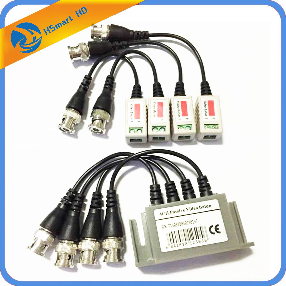 CCTV 4CH UTP CAT5E BNC Video Balun Transceiver + 2-pair Video Balun For Home Security Camera System