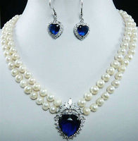 Factory price wholesal Jewelry 7 8mm Natural White Pearl Blue Crystal Pendant Necklace + Earrings Set